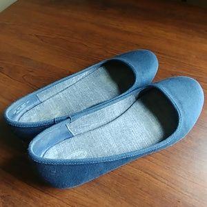 Dr Scholls blue fabric flats
